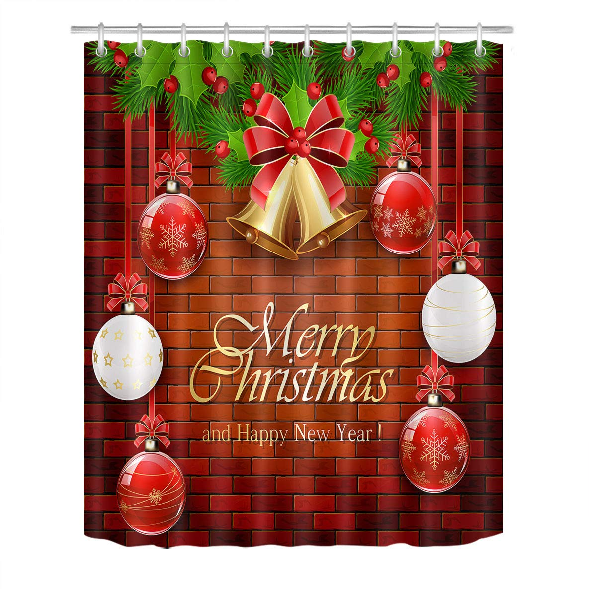 Lb Christmas Balls Shower Curtain Set Bells Hang On Rustic Brick Wall Bathroom Curtain With Hooks Holiday Decorations 60x72 Inch Waterproof Polyester