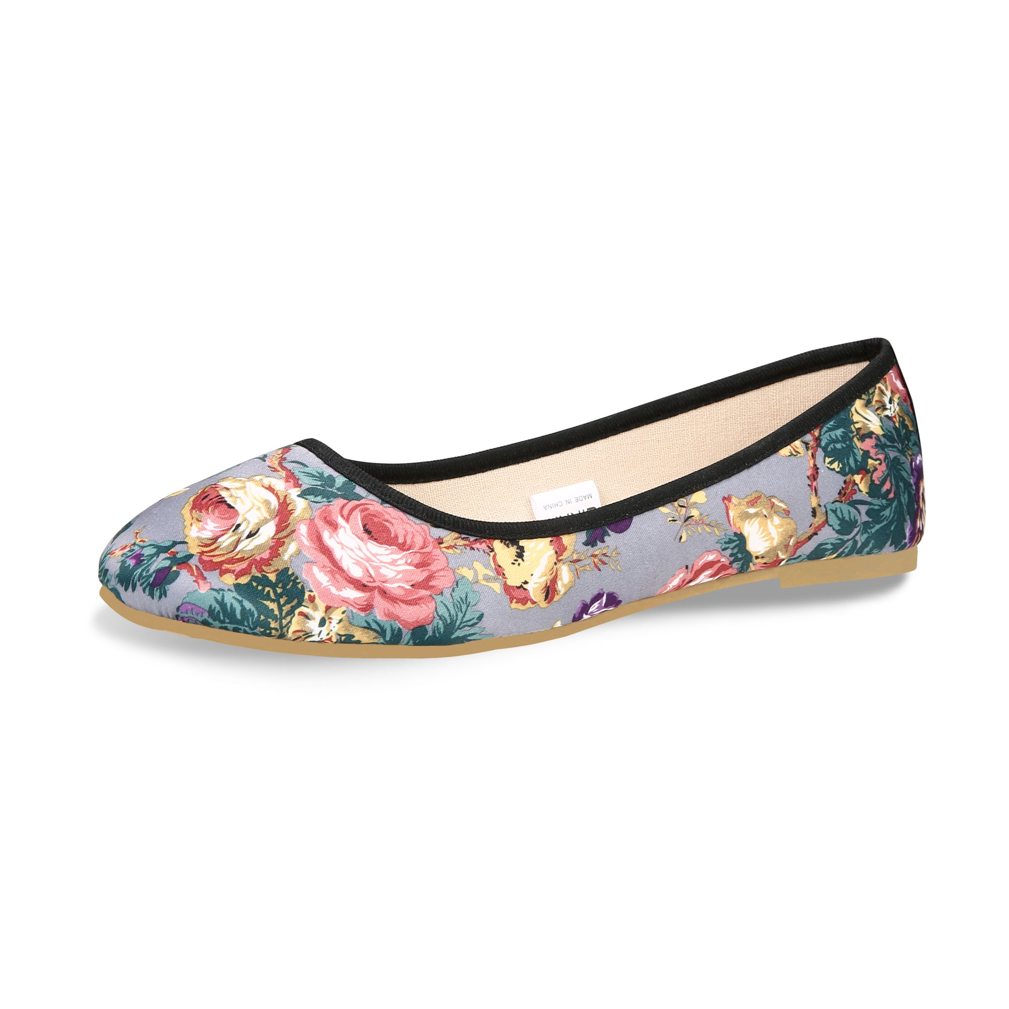 CINAK Flat Shoes for Women with Floral Printing Low-Cut Pointed Toe (7-7.5 B(M) US/EU39/CN39/24.5CM, Grey)