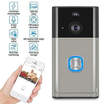Zeepin WiFi Video Smart Doorbell Soporte de Detección de Movimiento, IR Visión Nocturna, 2