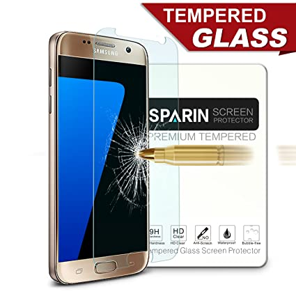 sparin tempered glass scratch resistant screen protector for samsung galaxy s7 2 pack amazoncom tempered glass