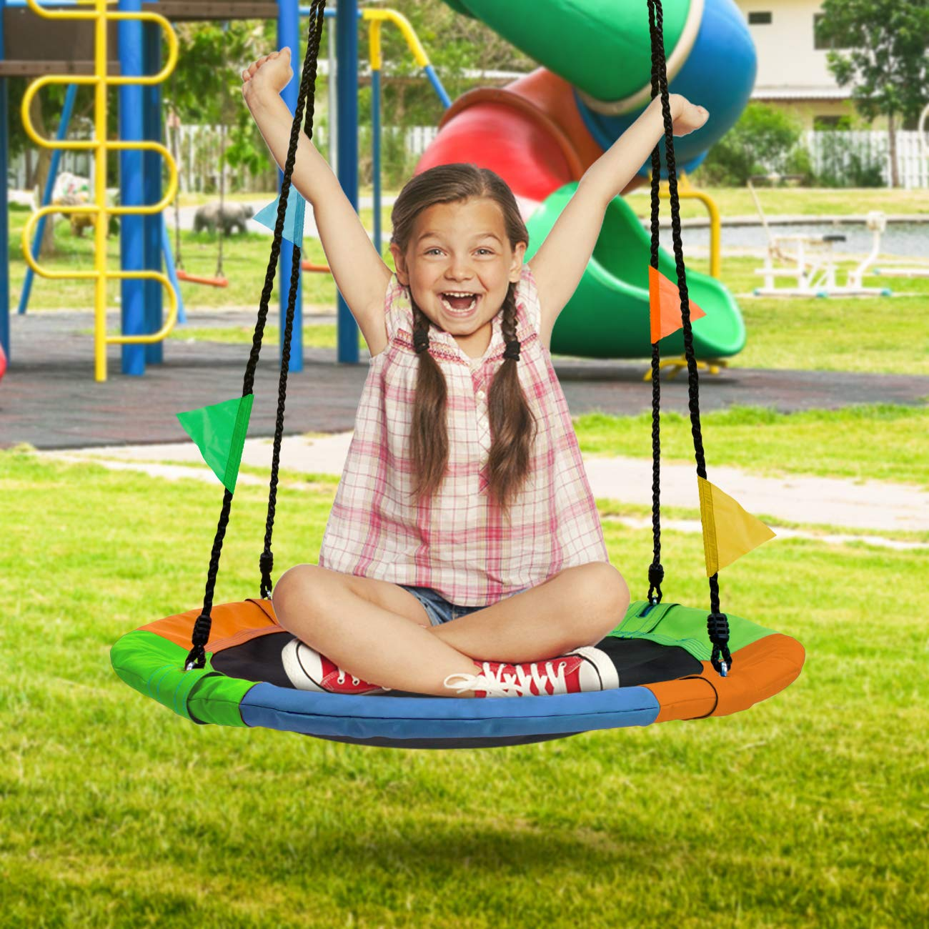 Sorbus Saucer Tree Swing in Multi-Color Rainbow - Kids Indoor/Outdoor Round Mat Swing - Great for Tree, Swing Set, Backyard, Playground, Playroom - Accessories Included (Round - 24'') by Sorbus (Image #3)