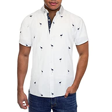 5ab178906 Mens Slim Fit Short Sleeve Button Down Polo Oxford Shirt MST46568 FLA White  M