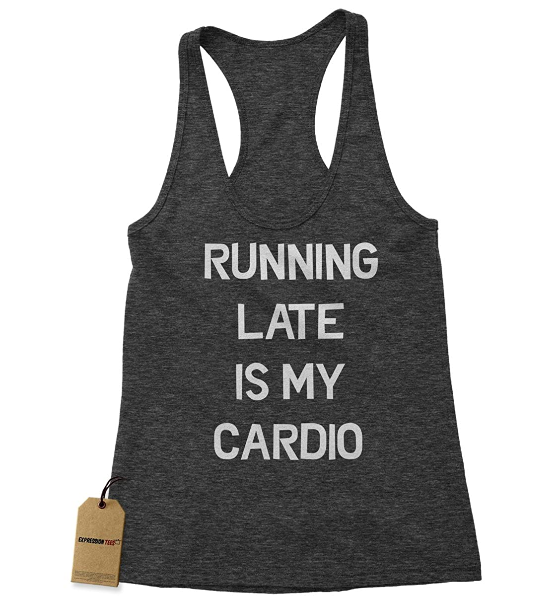 Expression Tees Running Late Is My Cardio Triblend Racerback Tank Top for Women 1766-R