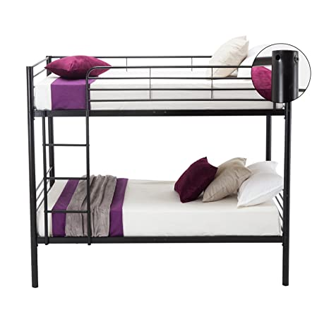 Leadzm Twin Over Twin Metal Bunk Bed with Metal Frame and Ladder for Kids  Bedroom,Box Spring Replacement