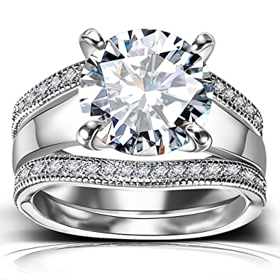 bf95acf5cbf8b Platinum Plated Bridal Set - Round Cut Cubic Zirconia Rings Women  Engagement Ring Set with Wedding Band