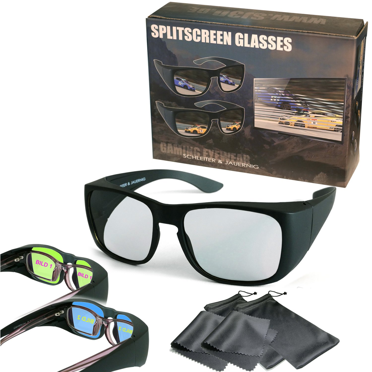 by Sony Split screen Glasses to wear over you optical glasses Dual Gaming by Passive Circular Polarized Compatible with Dual Play by LG 2 Player Gaming Overglasses passive version passive version by Philips Full Screen Gaming SimulView