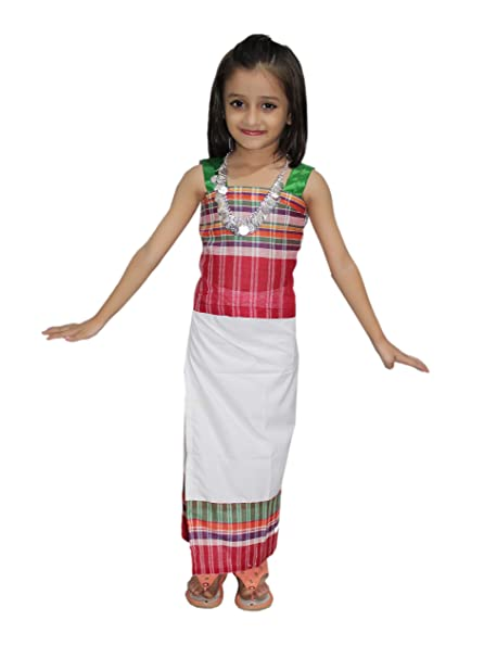 28ded43cb Buy Kaku Fancy Dresses Indian State Traditional Wear Tripura Girl Costume  -Multicolor, 5-6 Years, for Girls Online at Low Prices in India - Amazon.in