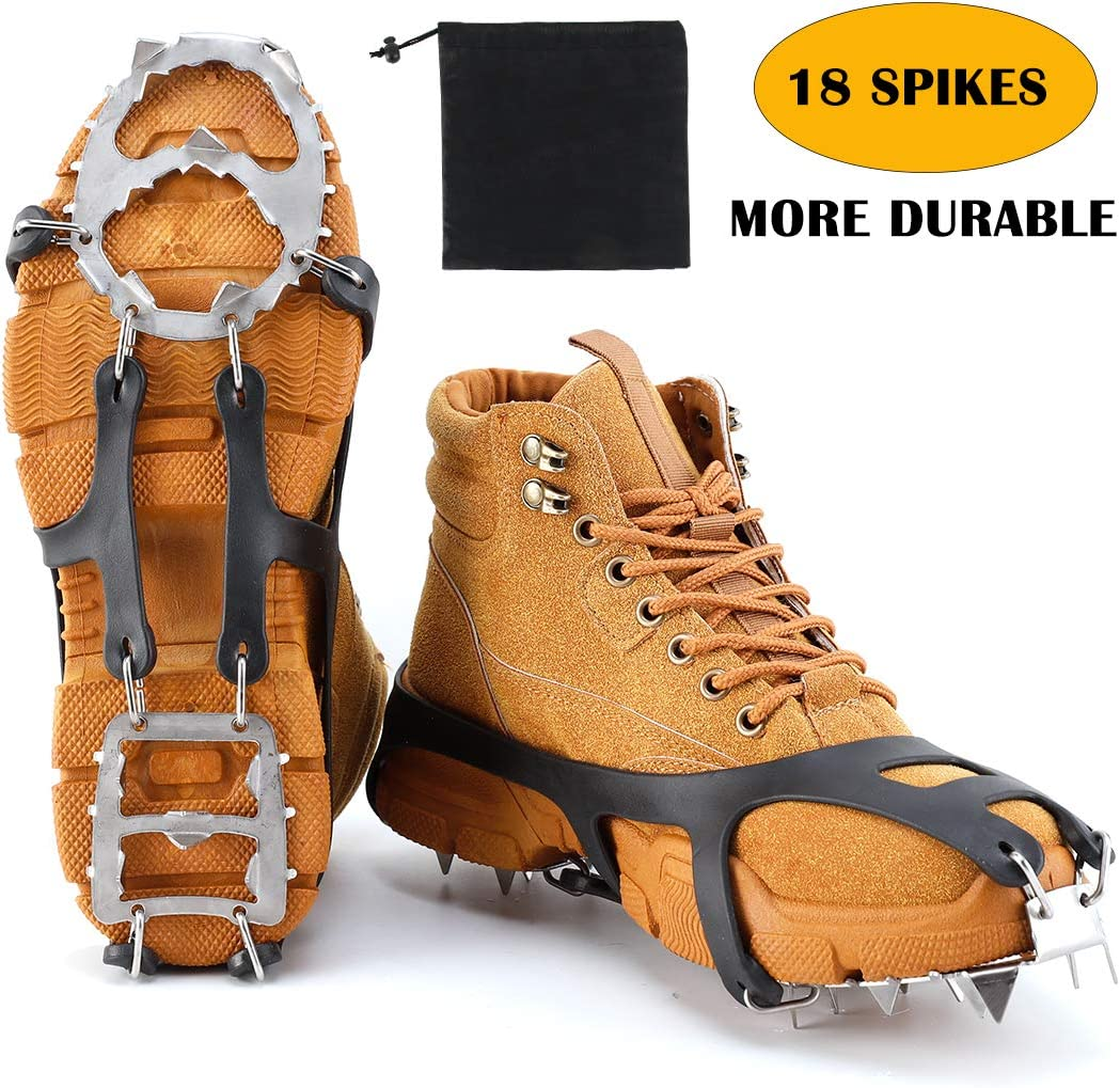 Hiking Walking Fnova Crampons Ice Cleats Traction Cleats Ice Snow Grips Crampons for Boots Shoes Crampons for Mens Womens Climbing,Mountaineering