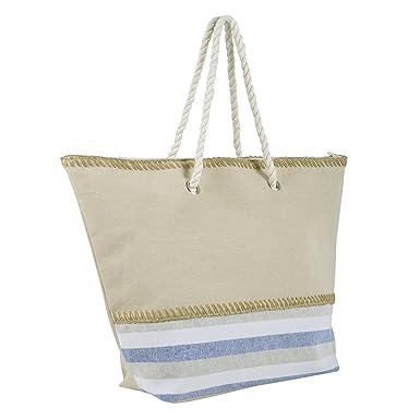 82a90197a9 Ladies Canvas Beach Shoulder Bag Handbag Shopping Tote Holiday Stripes Blue