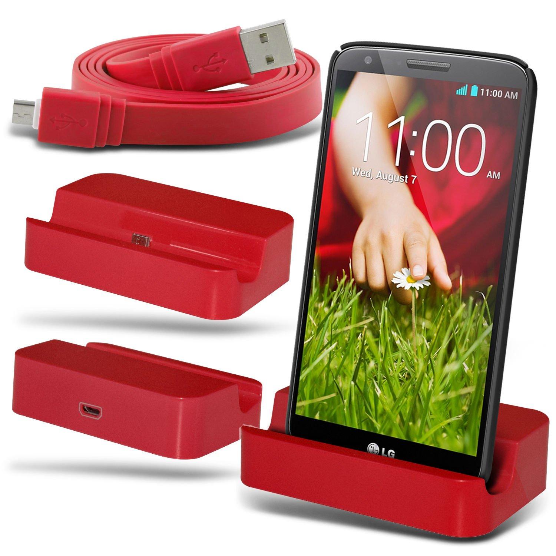 Fone-Case LG G2 D802 Micro USB cargador de escritorio Cuna cargador de puerto base y Superfast cable de sincronización de transferencia de datos plana ...