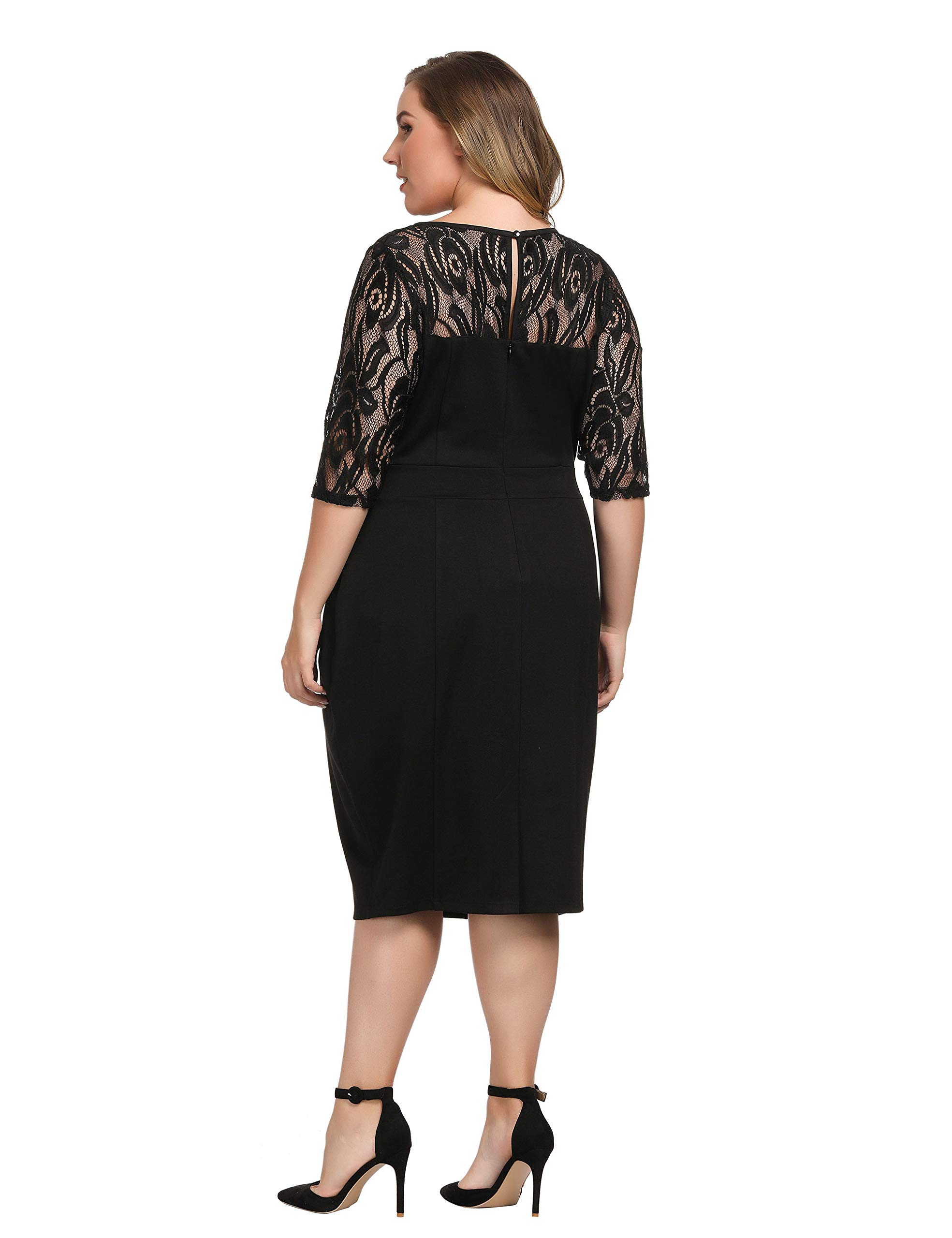 bab1f311c1f35a Chicwe Women's Plus Size Stretch Sheath Dress with Floral Lace Top - Knee  Length Work Casual Party Cocktail Dress - C17C218 < Dresses < Clothing, ...