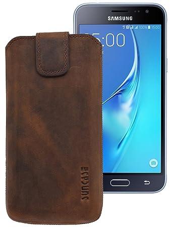 Original Suncase Etui Tasche für Samsung Galaxy J3 (2016) DuoS | mit ZUSÄTZLICHER Hülle Schale Bumper *Lasche mit Rückzugfunktion* Handytasche