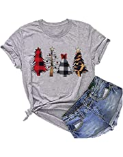 AIMITAG Christmas Buffalo Plaid Leopard Tree T Shirt Women Christmas Lights Holiday Tees Tops Short Sleeve Casual T-Shirt