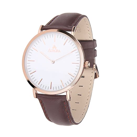 Aurora Womens Classic Steel Quartz Watch With Brown Band (Gold)