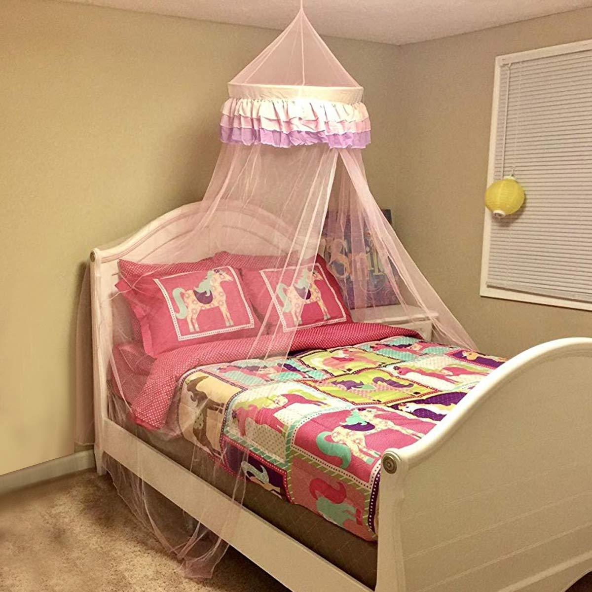 Ciel de Lit Moustiquaire pour B/éb/é Fille D/ôme Princesse Polyester en Couleur Rose D/écoration pour Chambre B/éb/é ou Enfant Hauteur 120 cm