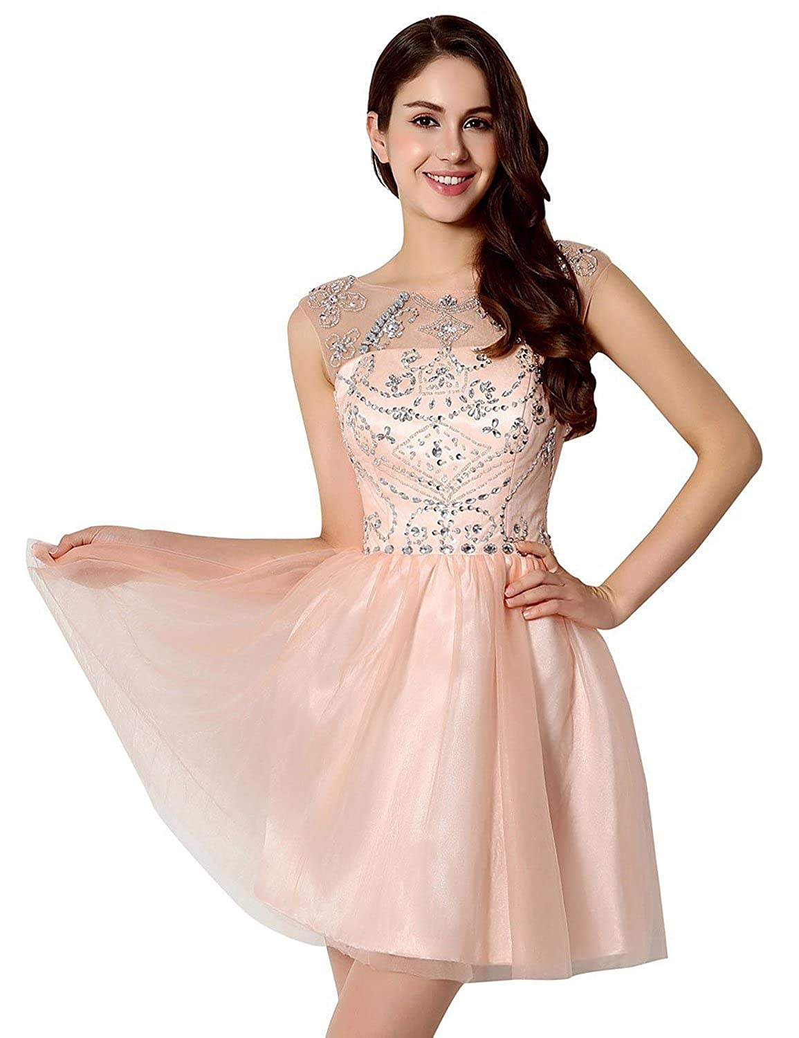 Belle House Short A Line Prom Gown Sheer Neck Homecoming Dresses HSD133