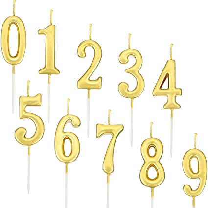 Amazon Yaomiao 10 Pieces Birthday Numeral Candles Cake Number 0 9 Gold Glitter Topper Decoration For Party Favor Home