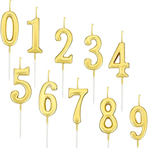 Yaomiao 10 Pieces Birthday Numeral Candles Cake Numeral Candles Number 0-9 Glitter Cake Topper Decoration for Birthday Party Favor (Gold)