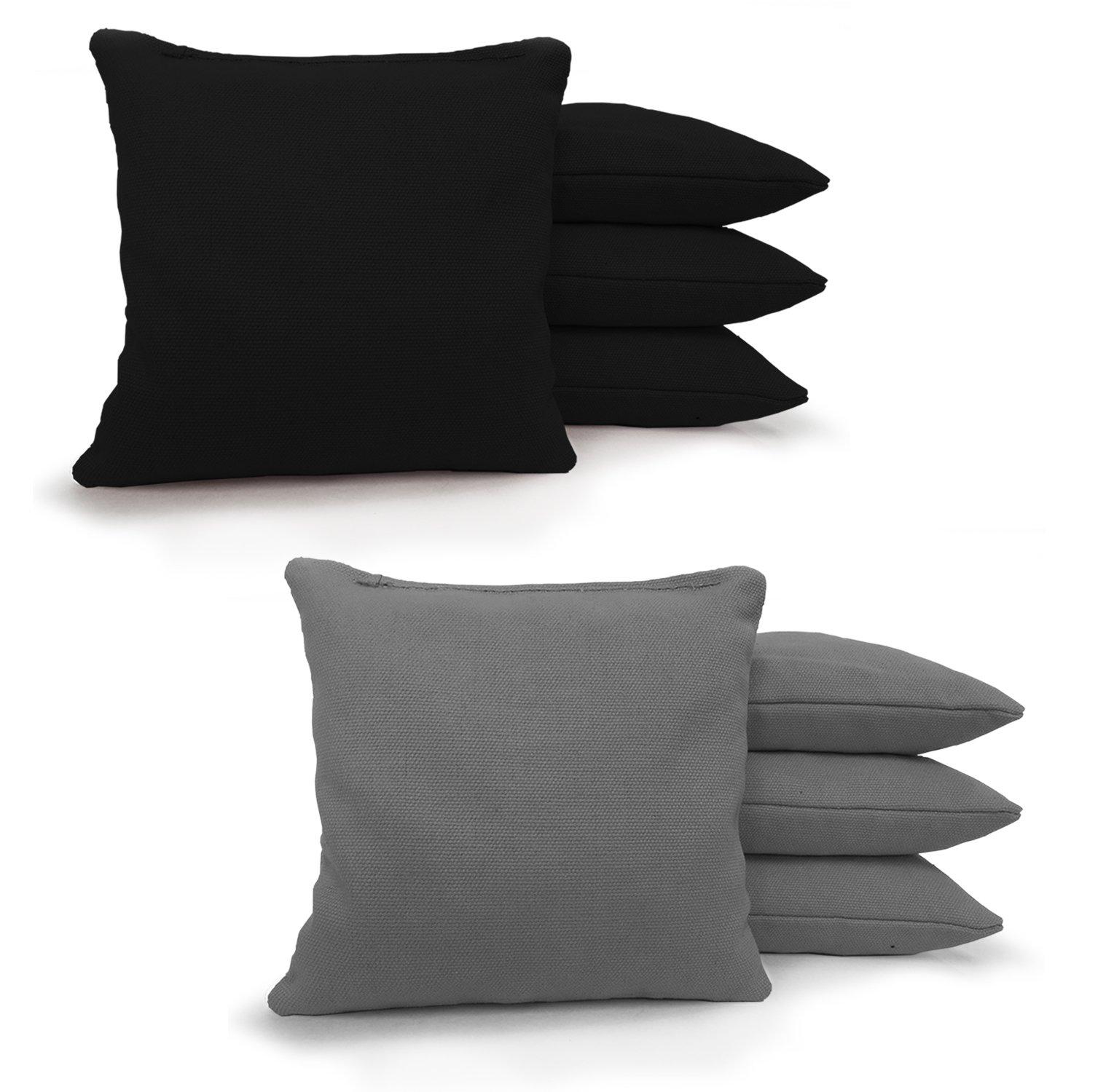 8 Standard Corn Filled Regulation Duck Cloth Cornhole Bags! 17 COLORS (YOU PICK)!! (Black/Grey) by Johnson Enterprises, LLC