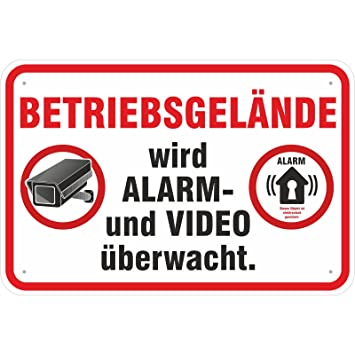Aufkleber 20x30 Cm Alarm Und Videouberwacht Betriebsgelande Amazon