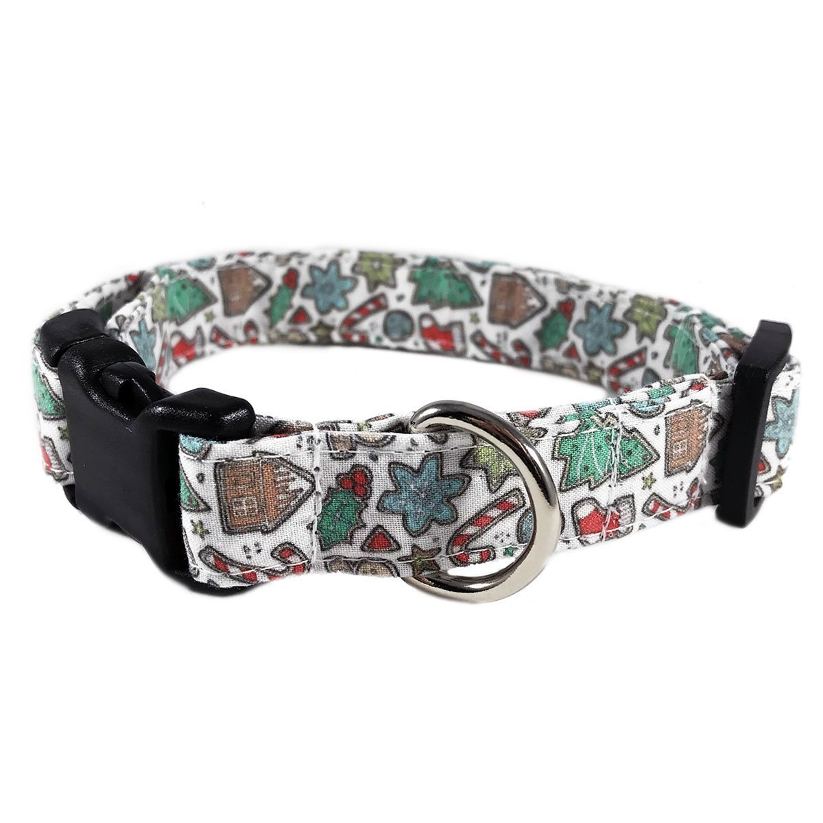 Christmas Cookies Dog Collar/Cat Collar for Pets Size Medium 3/4' Wide and 12-19' Long by Oh My Paw'd