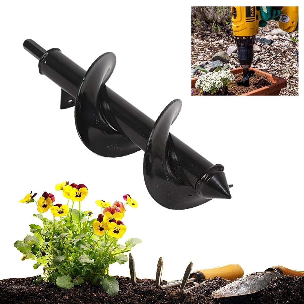 A-374.6 cm FILOL Auger Drill Bit Steel Gardening Earth Auger Hole Digger for Planting Bedding Bulb Seedlings Plant Auger