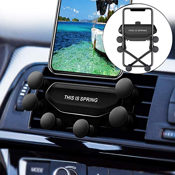 Owoda Car Mount Phone Holder Upgraded Gravity Mount Mobile Phone Stand Bracket Auto-Retractable Support Shockproof for 4.5 to 6.0 inches Cell Phone