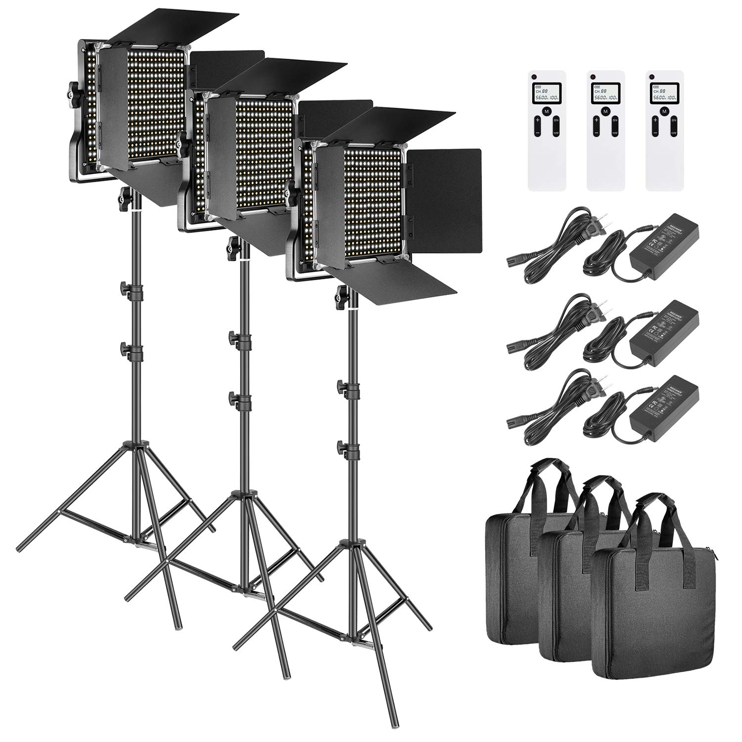 Neewer 3 Packs Advanced 2.4G 660 LED Video Light Photography Lighting Kit, Dimmable Bi-Color LED Panel with LCD Screen, 2.4G Wireless Remote and Light Stand for Portrait Product Photography by Neewer