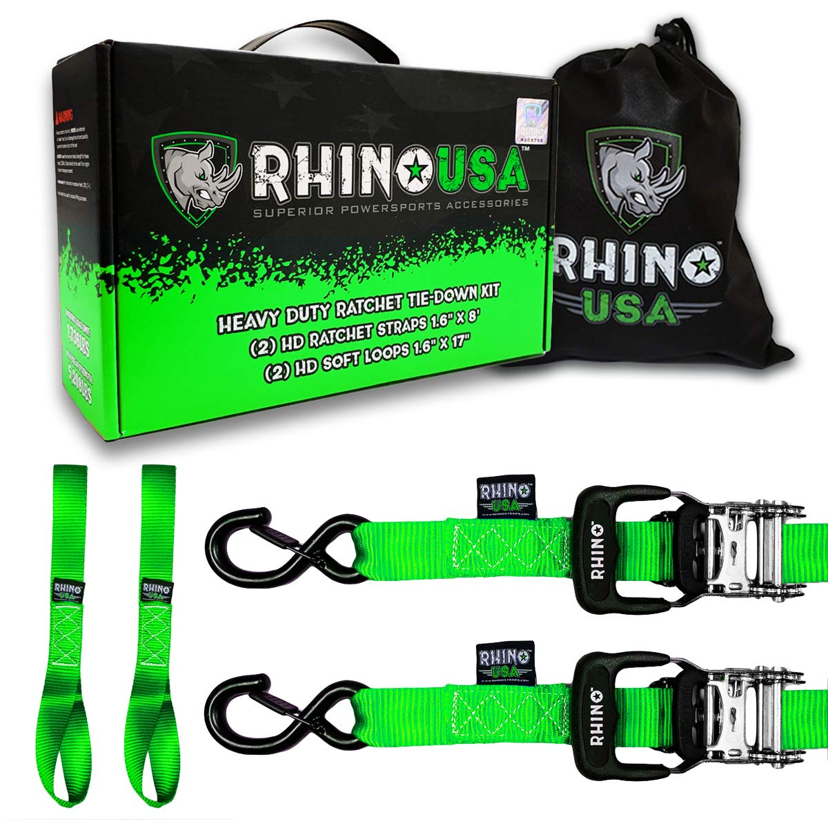 Heavy Duty 1.6 x 8 Rachet Tiedowns with Padded Handles /& Coated Chromoly S Hooks + BLUE 5,208 Break Strength - 2 RHINO USA Ratchet Straps Motorcycle Tie Down Kit Soft Loop Tie-Downs 2