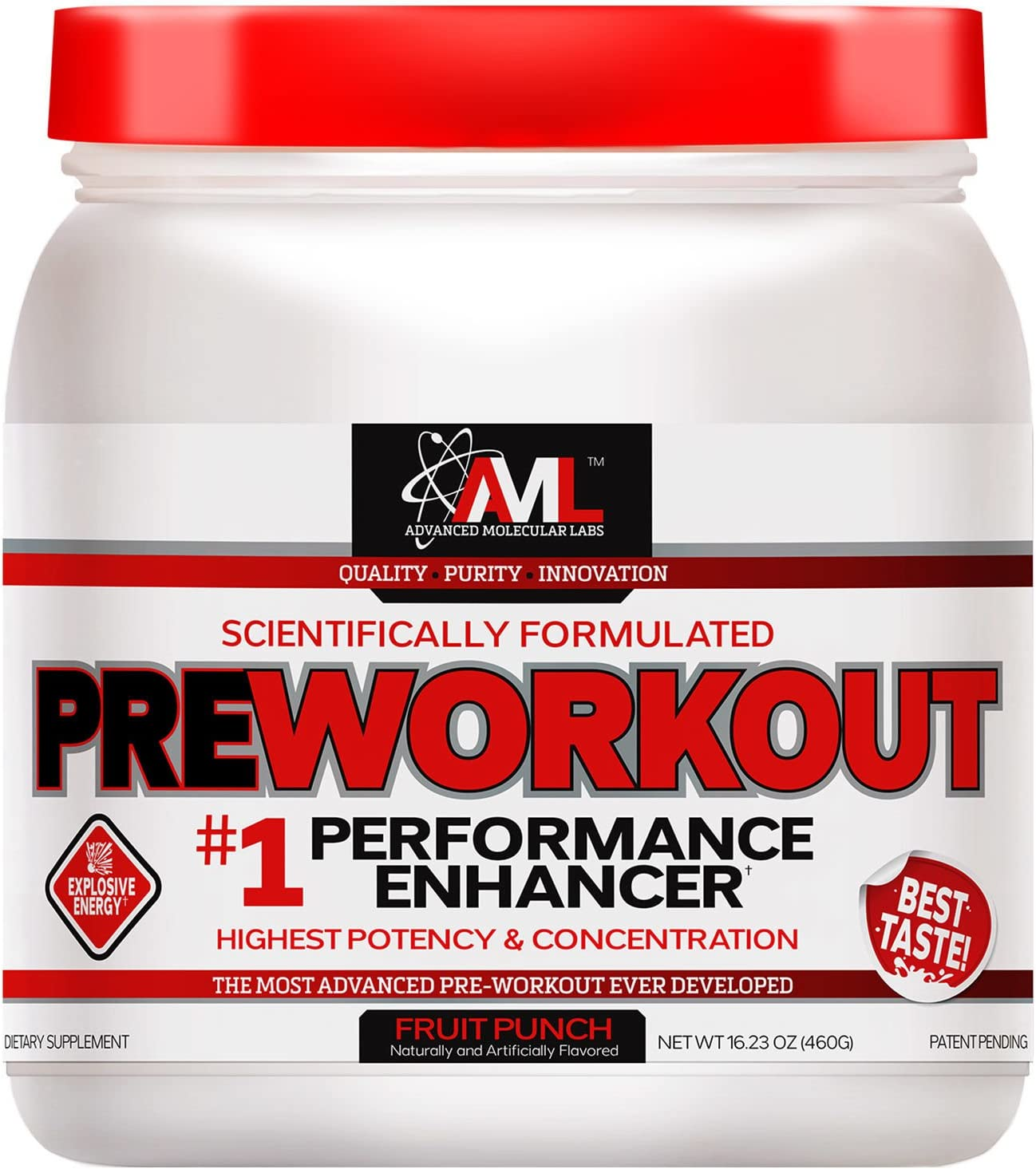 Advanced Molecular Labs Preworkout, Fruit Punch, 520 Grams – Train Harder, Train Longer – with 8g Citrulline Malate, 5g Creatine and 2.5g Betaine