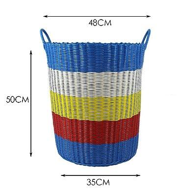 Xuan - worth having Bleu Grande capacité Dirty Clothes Storage Basket Weave Box Plastic Weave Storage Box Barrels Qualité PVC Matériau