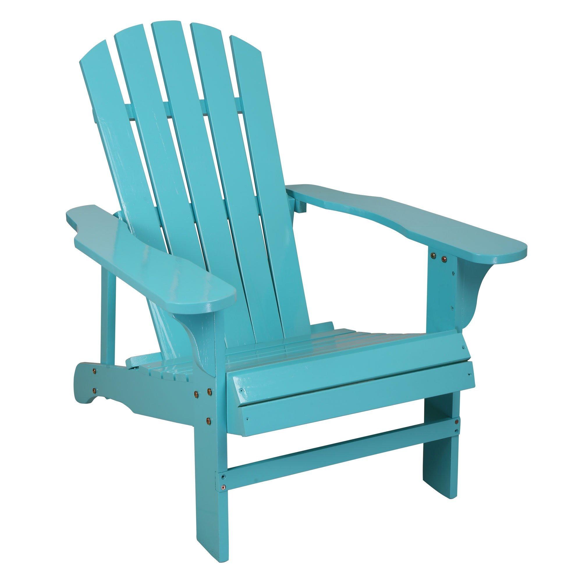 Songsen Outdoor Wooden Adirondack Chair Lawn Patio Deck Garden Furniture, Light Blue