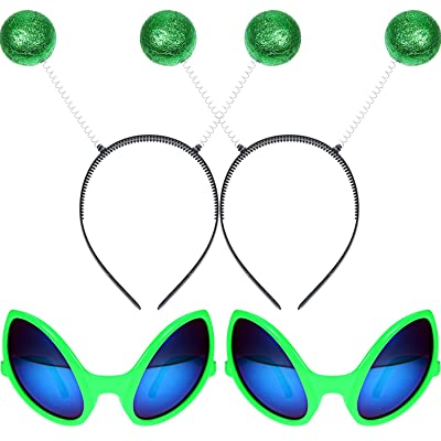2 Pairs Alien Glasses Green Plastic Alien Sunglasses and 2 Pieces Martian Antenna Headband Boppers Green Ball Headband Boppers for Fancy Dress Party Halloween Decoration: Toys & Games