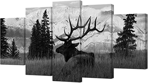 VVOVV Wall Decor Black and White Deer Wall Art Animals Landscape Artwork 5 Piece Deer Painting Canvas Prints Elk Picture
