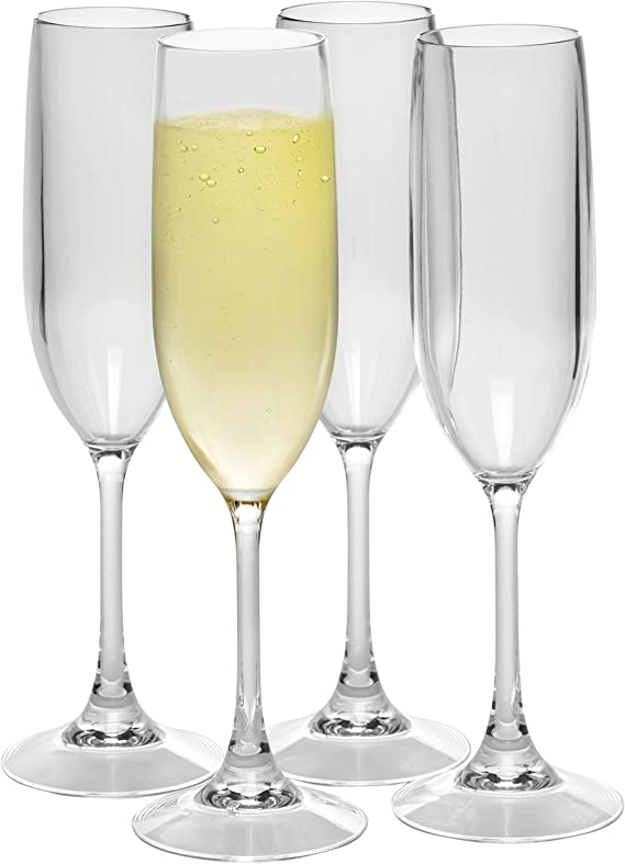 8-Piece Tritan Stemless Champagne Glasses 8.5 Oz Wedding Toasting Mimosa Cocktail And Wine Flute Kit Bravario Unbreakable Champagne Flutes Clear Plastic Reusable Shatterproof Glass Set