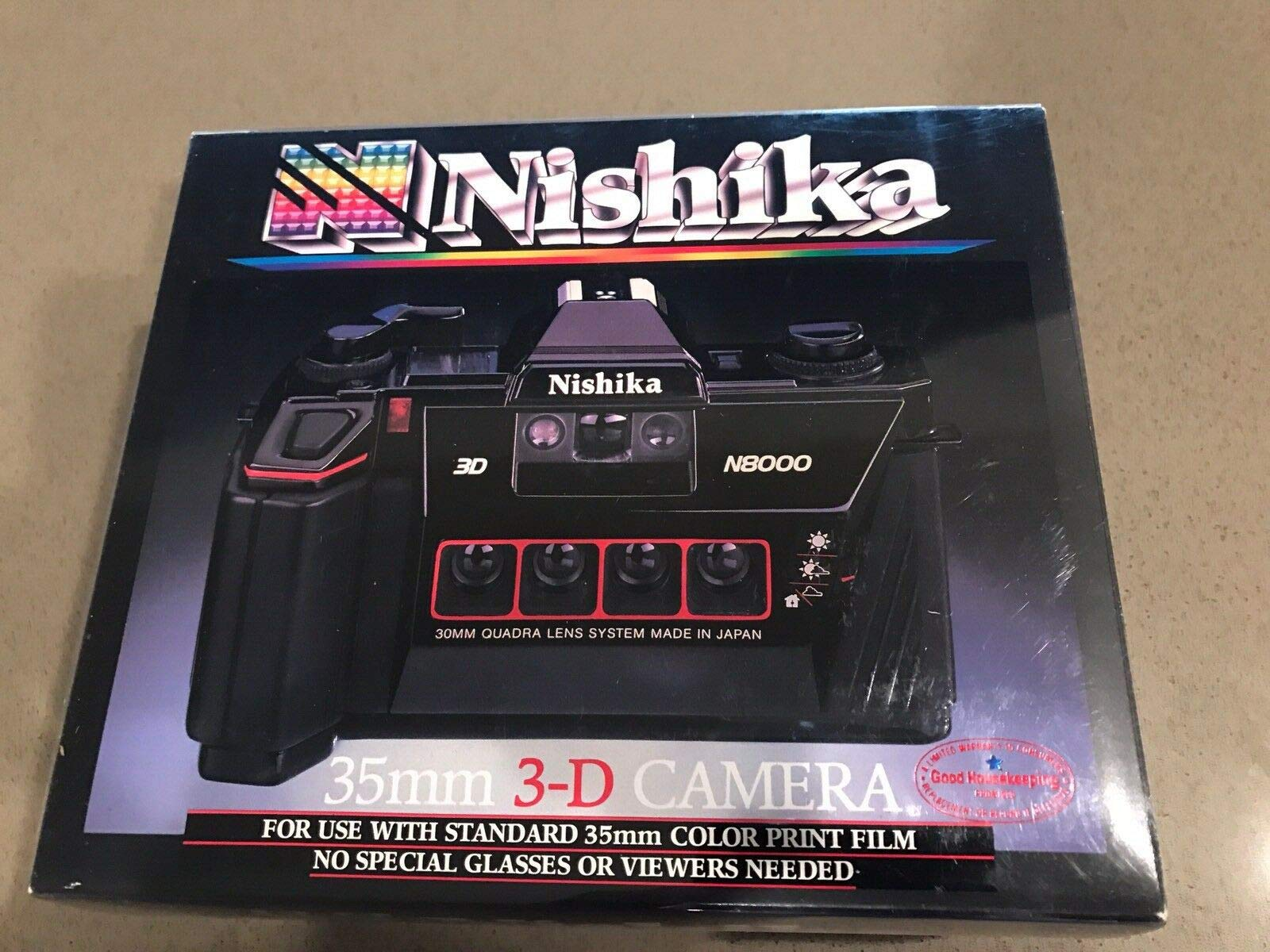 Nishika N8000 35 mm Quadrascopic Stereo 3D Lenticular Camera by Nishika
