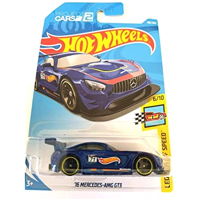 Hot Wheels 2020 50th Anniversary Legends of Speed '16 Mercedes-AMG GT3 196/365, Blue: Toys & Games