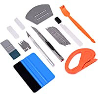 FOSHIO Vehicle Vinyl Wrap Window Tint Tools Kit with Small Felt Squeegees, Edge Trimmer Wrap Stick Squeegee, Vinyl Knife…