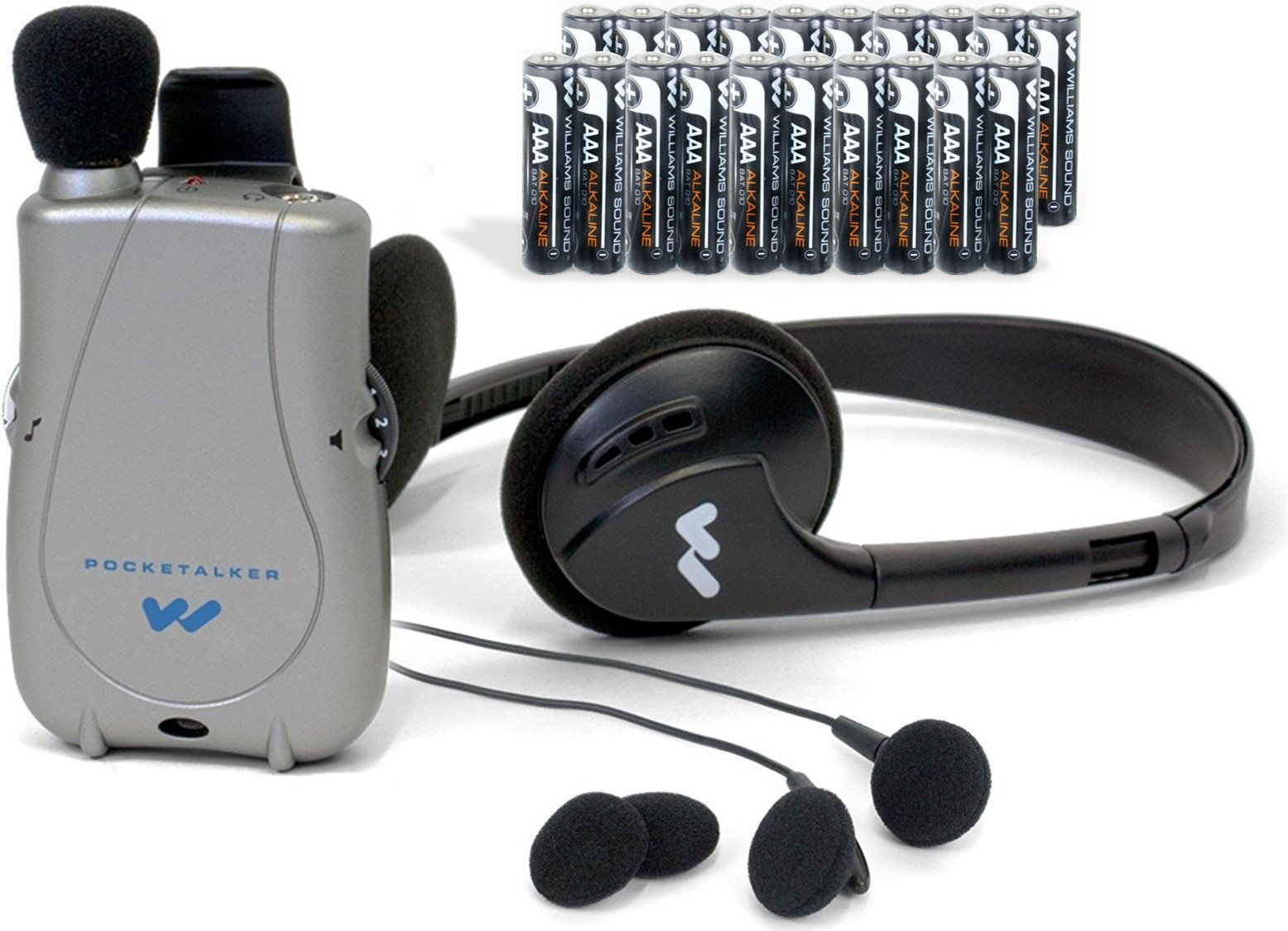 ELITE PACKAGE: PockeTalker Ultra w/ Headphone & FREE Dual Earbuds & FREE Year Supply of Batteries by Williams Sound