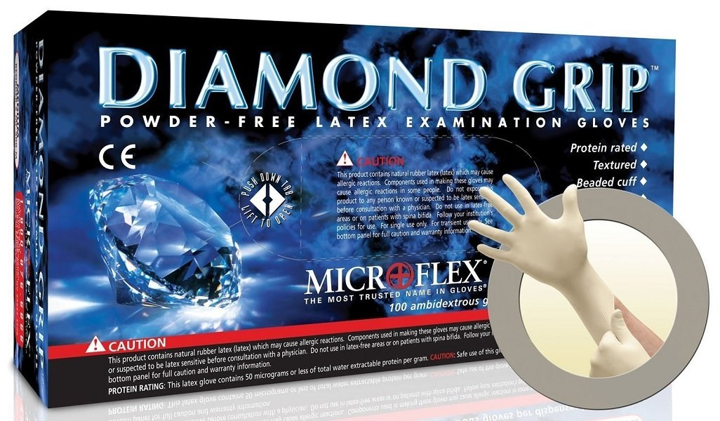 Microflex MF-300-L Diamond Grip Exam Gloves, PF Latex, Textured Fingers, Large, 100 per Box, 10 Box per Case (Pack of 1000) Exel Corporation