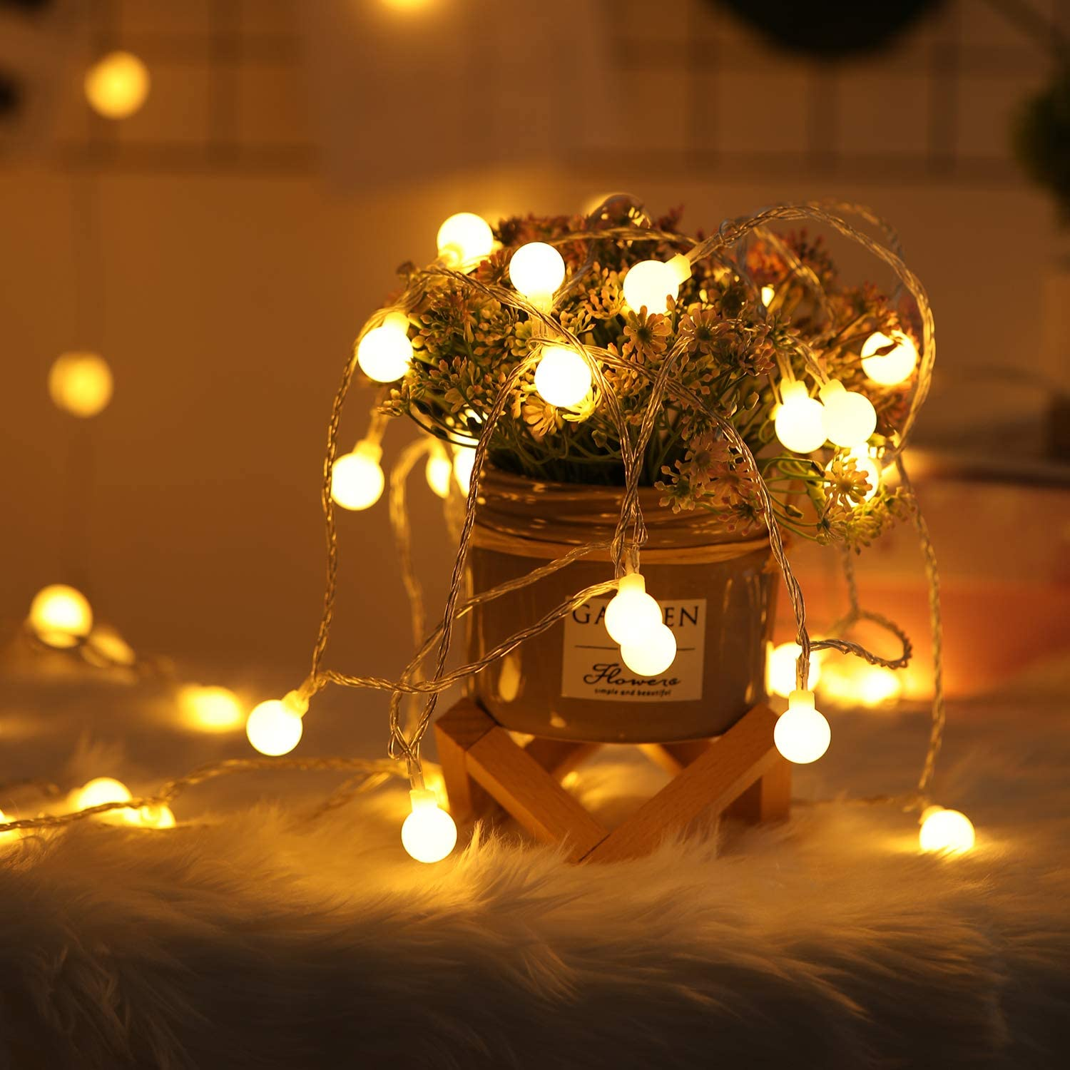 10m 100 Led Globe String Lights Fairy Globe String Lights Battery Indoor Outdoor Globe Lights With Remote For Garden Patio Bedroom Party Wedding Christmas Decoration Warm White Garden Outdoors Outdoor Lighting