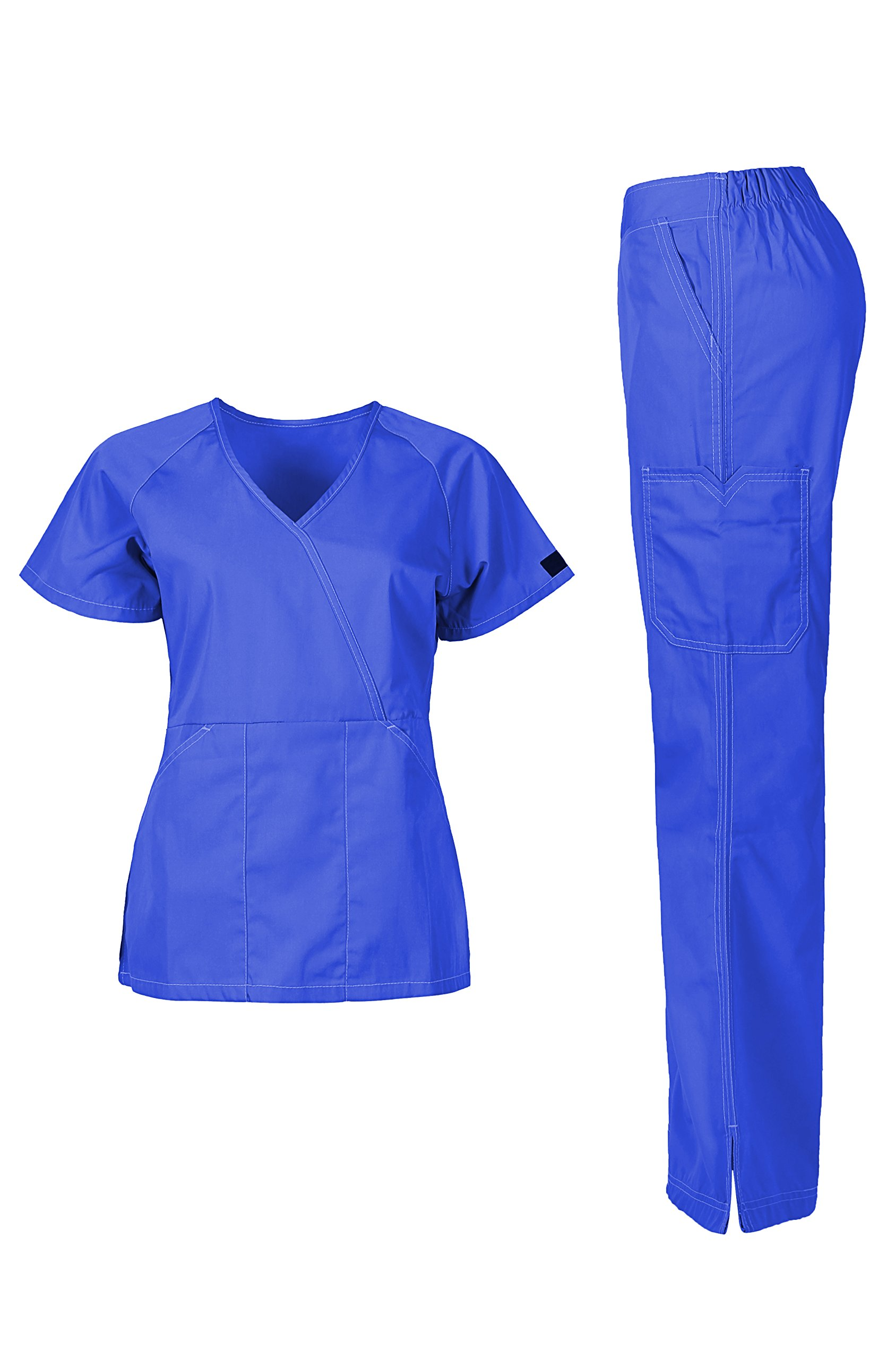 MedPro Women's Medical Scrub Set (Top & Bottom) Royal Blue M (5666)