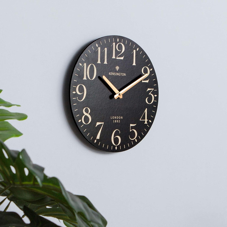 NIKKY HOME Horloge Murale Ronde Quartz Romain Cadran Analogique Europ/éenne R/étro Style Vintage Main Bois D/écoratif 30 CM
