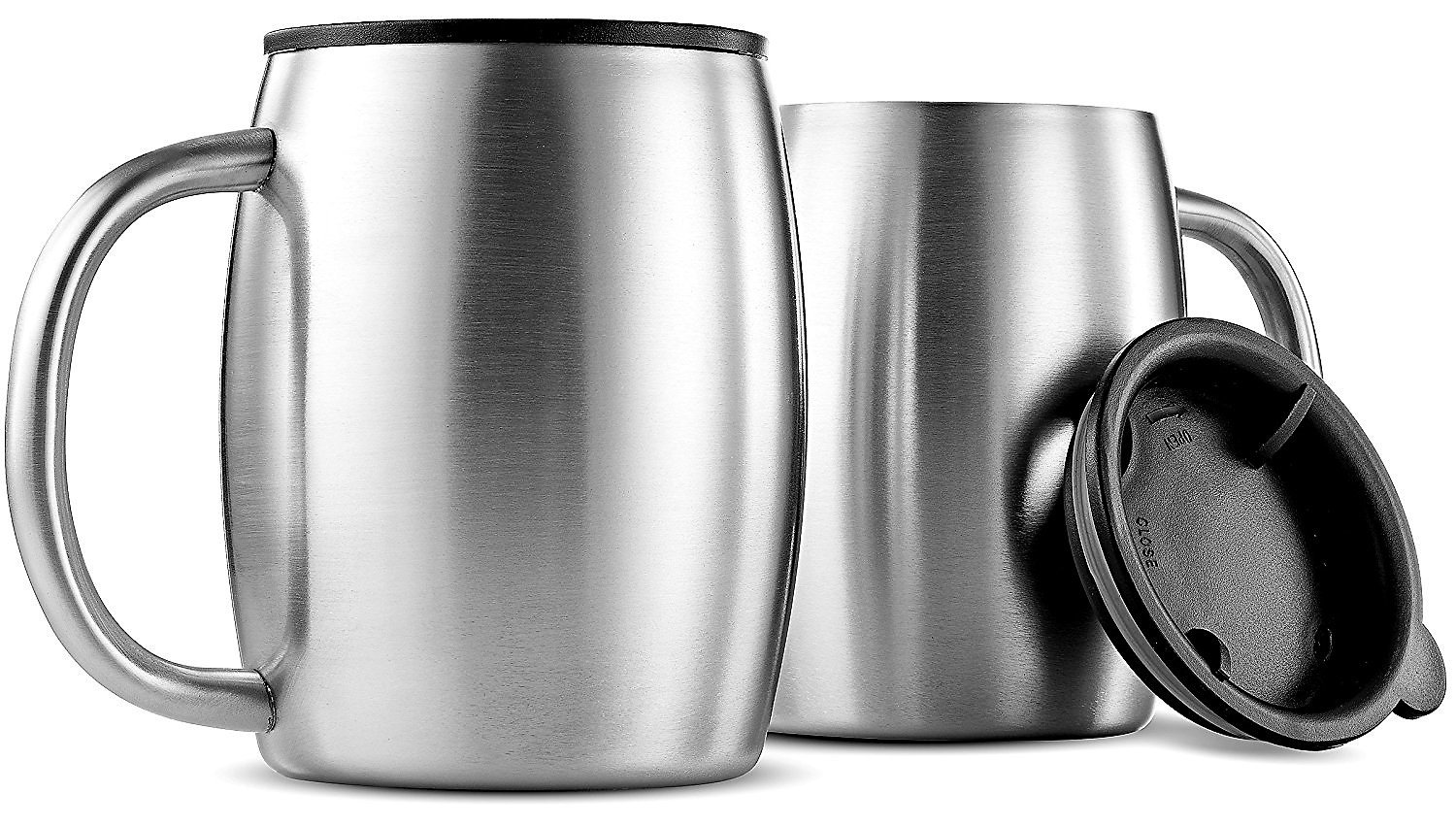 Stainless Steel Coffee Mug by Drink and Kitchen - Set of 2 - Double Walled Insulated Travel Beer Mug with Handle Plus Silicone Lid - 14oz - Home Office Camping - Spill-Proof - BPA Free - Eco-Friendly