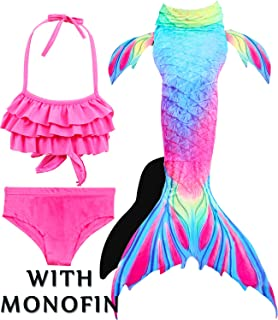 3pcs/set 8 Colors Girls Kids Mermaid Tails Fancy Children Mermaid Tail Costome Swimmable Bikini Set Bathing Swimsuit Cosplay Easy To Repair Mother & Kids