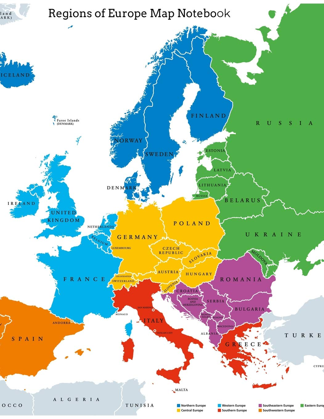 regions map of europe Regions of Europe Map Notebook: Wide Ruled Notebook, Full Size at