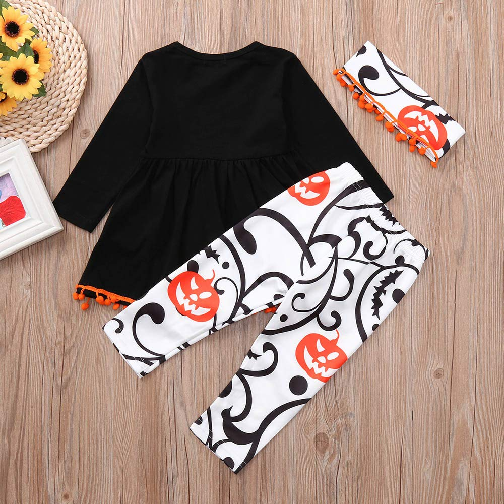Toddler Baby Infant Girls Pumpkin Dresses Pants Halloween Costume Outfits Set