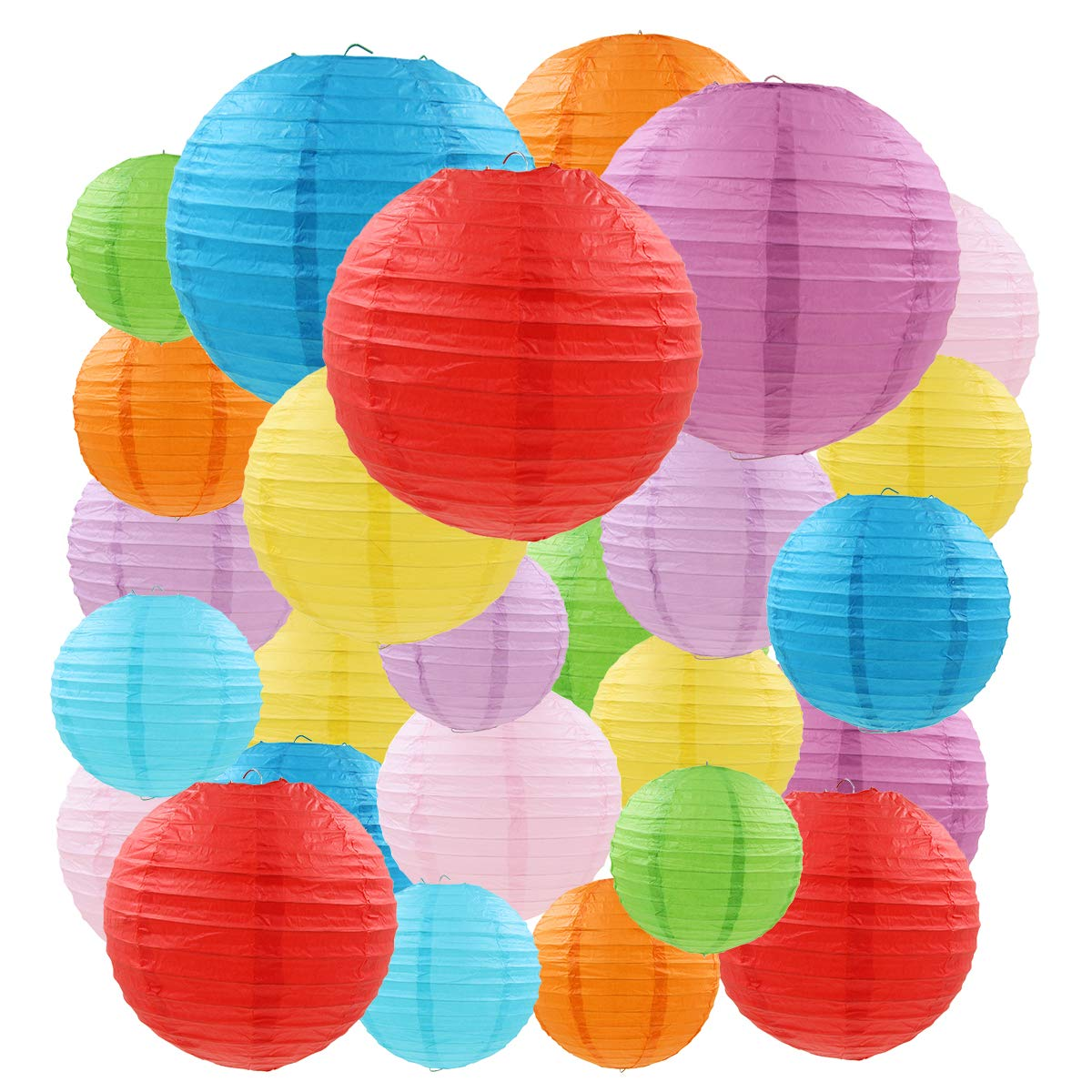 Cieovo 26 Pcs Colorful Paper Lanterns (Multicolor,Size of 4'', 6'', 8'',10'',12'') - Chinese/Japanese Paper Hanging Decorations Ball Lanterns Lamps for Home Decor, Parties, and Weddings