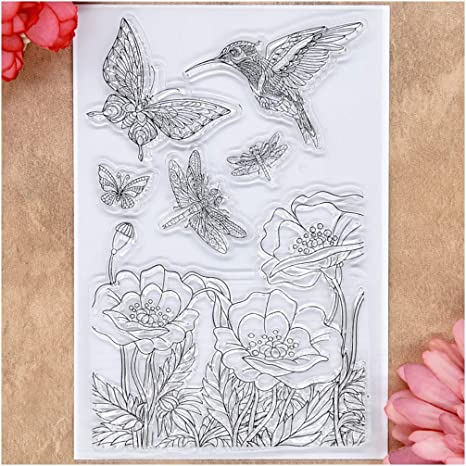 Kwan Crafts Dragonfly Butterfly Flowers Dream Love Bird Clear Stamps for Card Making Decoration and DIY Scrapbooking