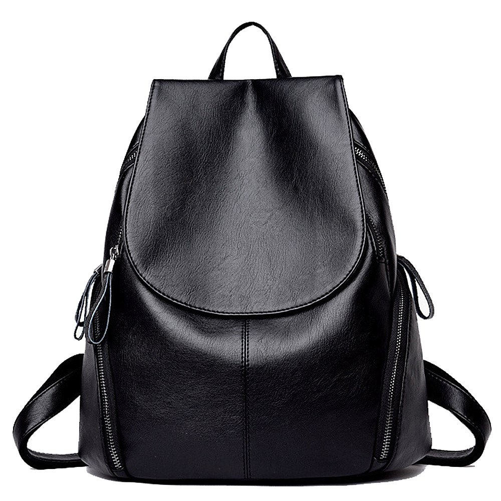 Leather Backpack for Women IBFUN Water Resistant Casual Backpack School Bag Travel Bag Black